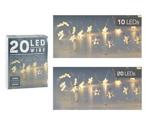 LED-Micro-Draht-10er-20er-Lichterkette-Sterne-warmweiss-biegsam-Batteriebetrieb