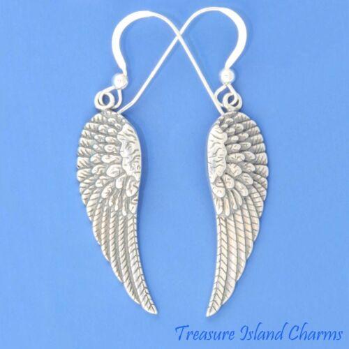 ANGEL WINGS LONG .925 Sterling Silver French Wire Dangle HOOK EARRINGS WING