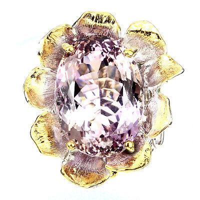 Rare Oval 25.57ct Bi-color Ametrine Emerald 925 Sterling Silver Ring 7 Handamde