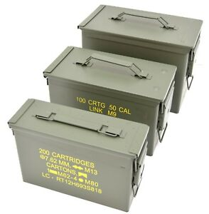 NATO-50Cal-Ammo-Box-Army-Storage-Ammunition-Surplus-Issue-Tin-Tool-Metal-3-Sizes