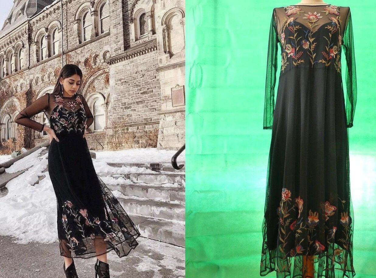 Zara blogger Maxi Vestito Midi Ricamo TULLE Long EMBROIDERED nero DRESS