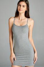 Extra Long Cotton Camisole Dress Tunic Slip Length Stretch Spaghetti Tank Top