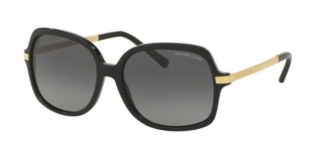 New Michael Kors Adrianna II MK2024 3160T3 Black Plastic Sunglasses Grey Shaded