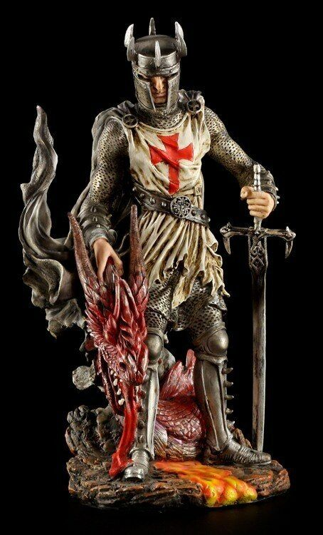 Crusader Figure Dragon Crusade St. Georg with Dragon Head Dragon Statue