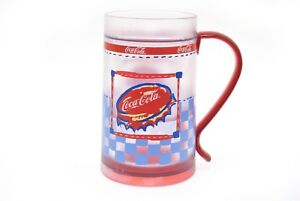 coca cola freezer mug insulated checker print bottle cap 16 oz new