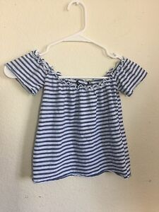 fbbdc7e996f6c Image is loading brandy-melville-Blue-white-cropped-ribbed-off-shoulder-