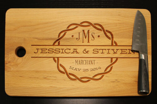 Personalized Wedding Date Family Name Monogram Cutting Board Anniversary Gift