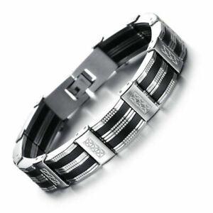 Neu-Armband-Edelstahl-Kuerzbar-Herren-Luxus-Armreif-Armkette-Schwarz-Silber-21cm