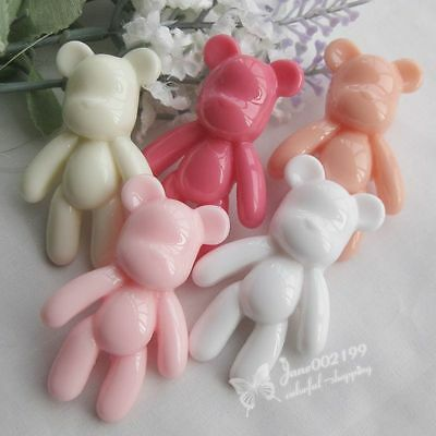 10/50Pcs Mix Color MOMO Bear Flatback Resin Buttons DIY Craft Scrapbook JOB099