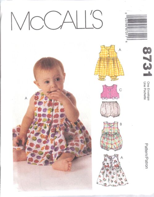 8731 UNCUT Vintage McCalls SEWING Pattern Infant Dress Romper Top Panties