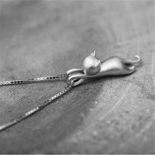 Cute Women Glamour Silver 2 Cat Charm Pendant for Chain Necklace Jewelry Pip P0C