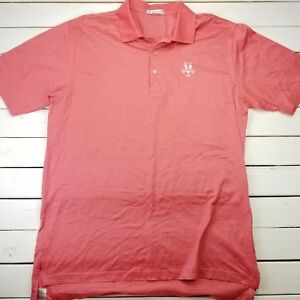 Peter-Millar-Golf-Polo-Shirt-Mens-XL-Pink-Striped-Performance-Short-Sleeve-P416