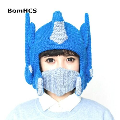 Funny Helmet Beanie Winter Warm Handmade Knit Hats Movie Made Snowboarding