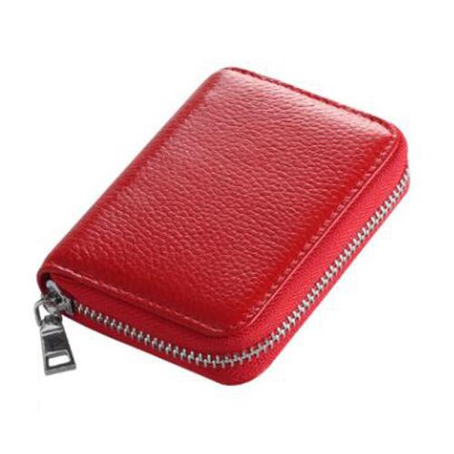 Mens Wallet Credit Card Holder Genuine Leather RFID Blocking Zipper Pocket Hot