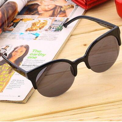 Retro Black Lens Vintage Men Women Round Frame Sunglasses Glasses Eyewear IT