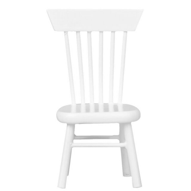 1/12 Dollhouse Miniature Dining Furniture Wooden Chair White N9C3