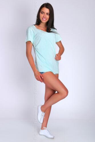 Donna Casual Top BARCA COLLO T-SHIRT MANICA CORTA taglia 8-12 ft1197
