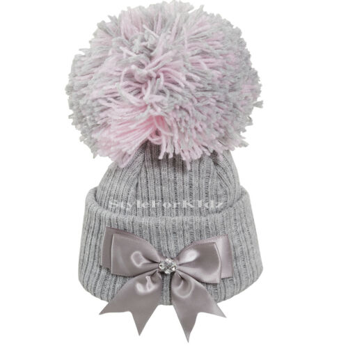 BABY GIRLS KNITTED POMPOM HATS NEWBORN 0-3 MONTH BOBBLE POM CAP WITH BOW