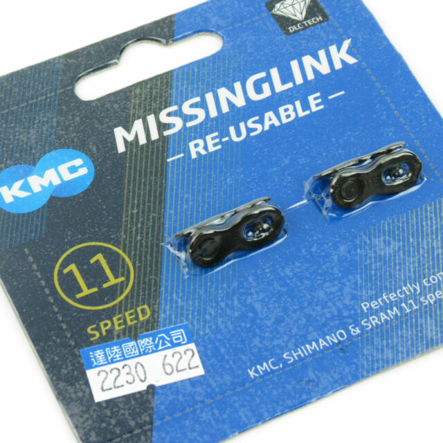 Black KMC 10-speed Re-usable Missing Link For Shimano /& KMC DLC Bike Chains