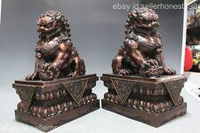 China Feng Shui Guardian Door Bei Jing Fu Foo Dog Lion red bronze statue Pair