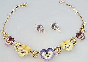 #5068 - Beautiful 14K Gold - Enameled Necklace & Earrings - Heavy