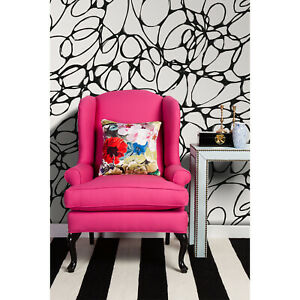 Doodle-removable-wallpaper-Black-and-white-pattern-peel-and-stick-wall-decor
