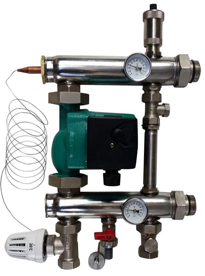 Edelstahl Festwertregelset für Fußbodenheizung mit Pumpe Pumpengruppe Heizung