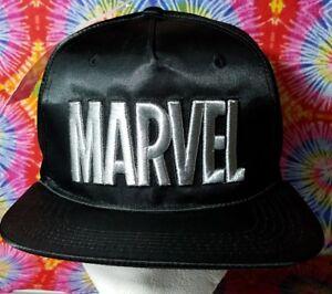 0d693247fe226 ... free shipping image is loading marvel comics snapback hat black silver  adjustable cap 6443f ba3d7