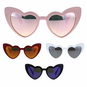 e3db950d5623 Womens Heart Shape Color Mirror Cat Eye Plastic Groovy Sunglasses