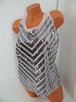 $50 Express Blush Silver Sequin Chevron Tank Cruise Party Shirt Blouse Top M