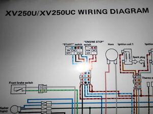 yamaha oem factory color wiring diagram schematic 1988 xv250u xv250 rh ebay com yamaha xv250 wiring diagram yamaha xv250 wiring diagram