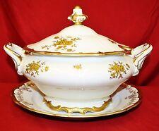 Weimar Porzellan Katharina 17010 Soup Tureen Porcelain White Gold Roses
