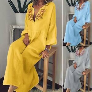Women-Boho-Long-Sleeve-V-Neck-Loose-Baggy-Tunic-Dress-Kaftan-Casual-Maxi-Dresses