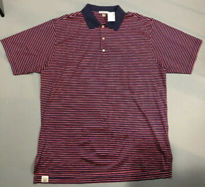 NEW-Peter-Millar-Mens-Polo-Sz-XL-Blue-Red-Striped-Crown-NWT-Extra-Large-XLarge