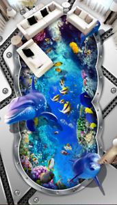 3D Dolphins Ocean 532 Floor WallPaper Murals Wall Print 5D AJ WALLPAPER UK Lemon
