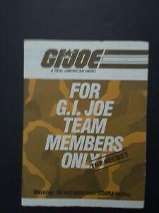 GI JOE Catalog Brochure Order Form 1984  For Team Members Only insert Complete