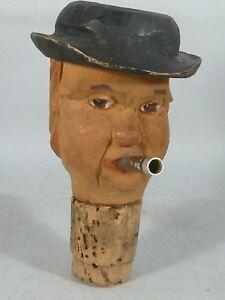 Männerkopf Mit Hut Und Zigarre üBerlegene Materialien Zierkorken Holz-geschnitzt Ausgießer
