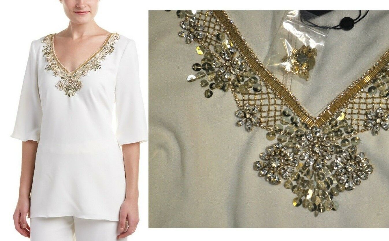 NWT Marchesa Notte Ivory Blouse Gold Crystals + Sequin Embellished V Neck Sz 10
