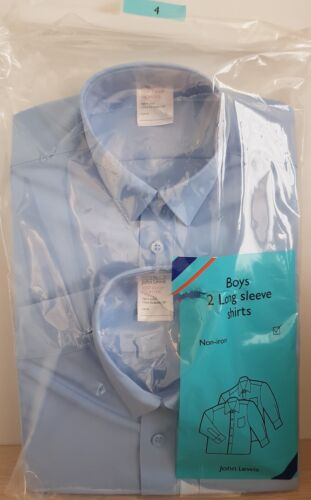 john lewis boys 2 long sleeve school blue shirts age 4 non iron