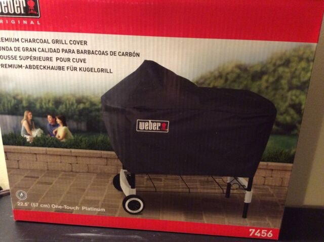"""Weber Premium Charcoal Grill Cover Fits One Touch Platinum Grills 22.5"""" New"""