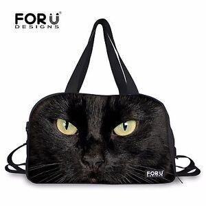 24ace208ba Black Cat Gym Sport Yoga Fitness Tote Travel Bag Handbag Women Men ...