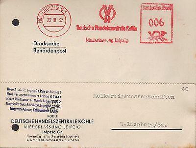 Leipzig Postkarte 1952 Deutsche Handelszentrale Kohle Rheuma Und ErkäLtung Lindern