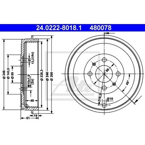 FIAT DOBLO SATZ 2x ATE Bremstrommel ALFA ROMEO 145 930 ALFA ROMEO 146 930
