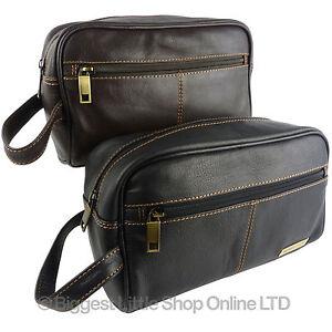 ed20b093c45d NEW Mens Rowallan QUALITY Leather Slimline Wash Bag Travel in Black ...