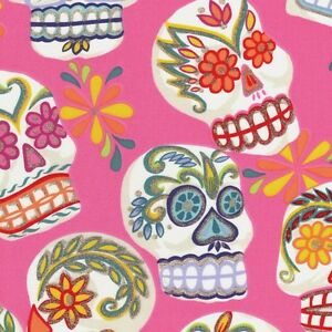 Alexander-Henry-Gothic-Calaveras-Skulls-on-Pink-Cotton-Fabric-FQ