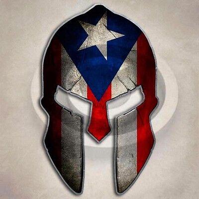 2 3S MOTORLINE 4 Reflective Sparta Spartan Puerto Rico Flag Decal Sticker PR Molon Labe Car Vinyl sda1