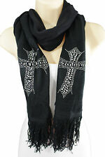 Women Black Fashion Long Necklace Scarf SIlver Cross Beads Acrylic Thick Scarves