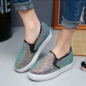 da2c9082d2b7b3 Womens Bling Bling Creeper Slip On Sequins Shoes Platform Loafers ...