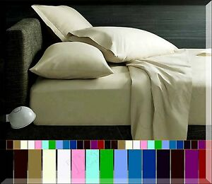Flat-Sheet-Plain-Dyed-Poly-Cotton-Bed-Sheet-Single-Double-King-amp-Super-King-Size