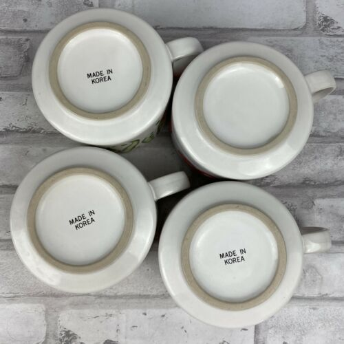Grant Howard Soup Cereal Mugs Bowls Carrot Tomato Mushroom Peas Lot of 4
